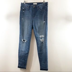 "Madewell 9"" High Rise Skinny Distressed Jeans 31"